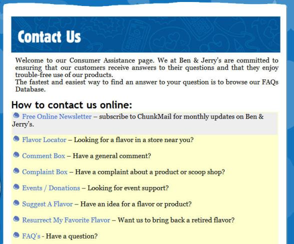 Ben & Jerry's Contact Us page