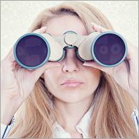 Woman binoculars